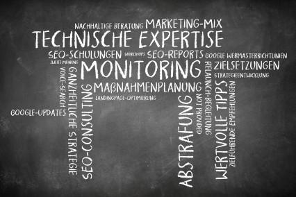 Wortwolke als Tafelbild zum Thema SEO-Consulting