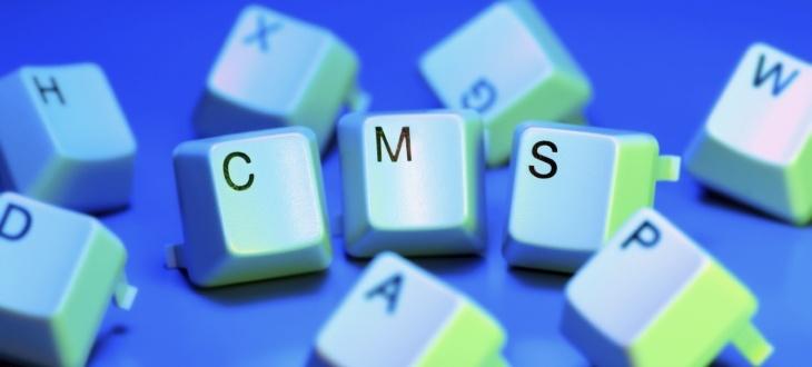 Tasten einer Tastatur bilden den Begriff CMS auf blauem Grund