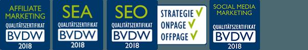 SEO und weitere BVDW-Zertifikate 2018