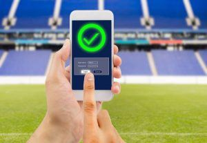 Smartphone Login-Screen im Stadion