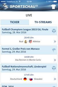 Screenshot Sportschau-App Liveticker