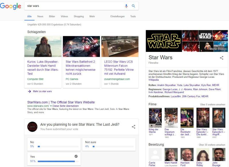 """Suchergebnis """"star wars"""" auf Google"""