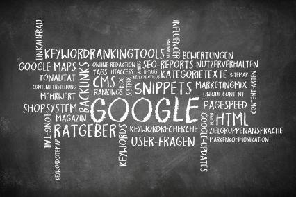 Wortwolke als Tafelbild zum Thema Suchmaschinenoptimierung