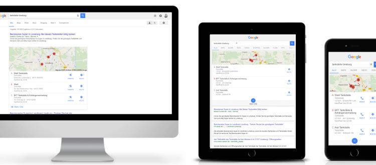 Suche nach Tankstelle (Desktop, Tablet, Smartphone)