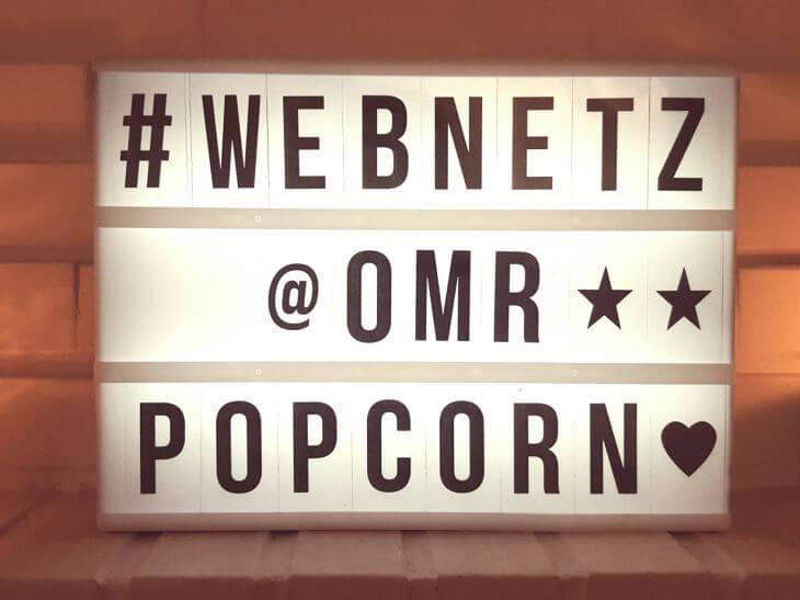 web-netz OMR Popcorn-Schild