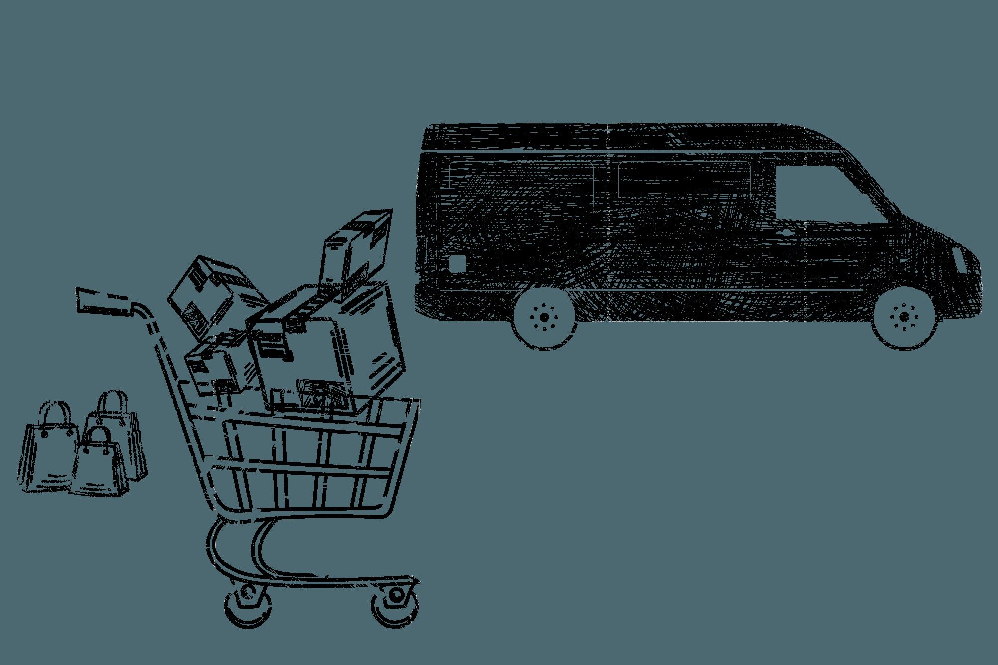 Ein Einkaufswagen mit Paketen wird zu einem Lieferwagen gefahren.
