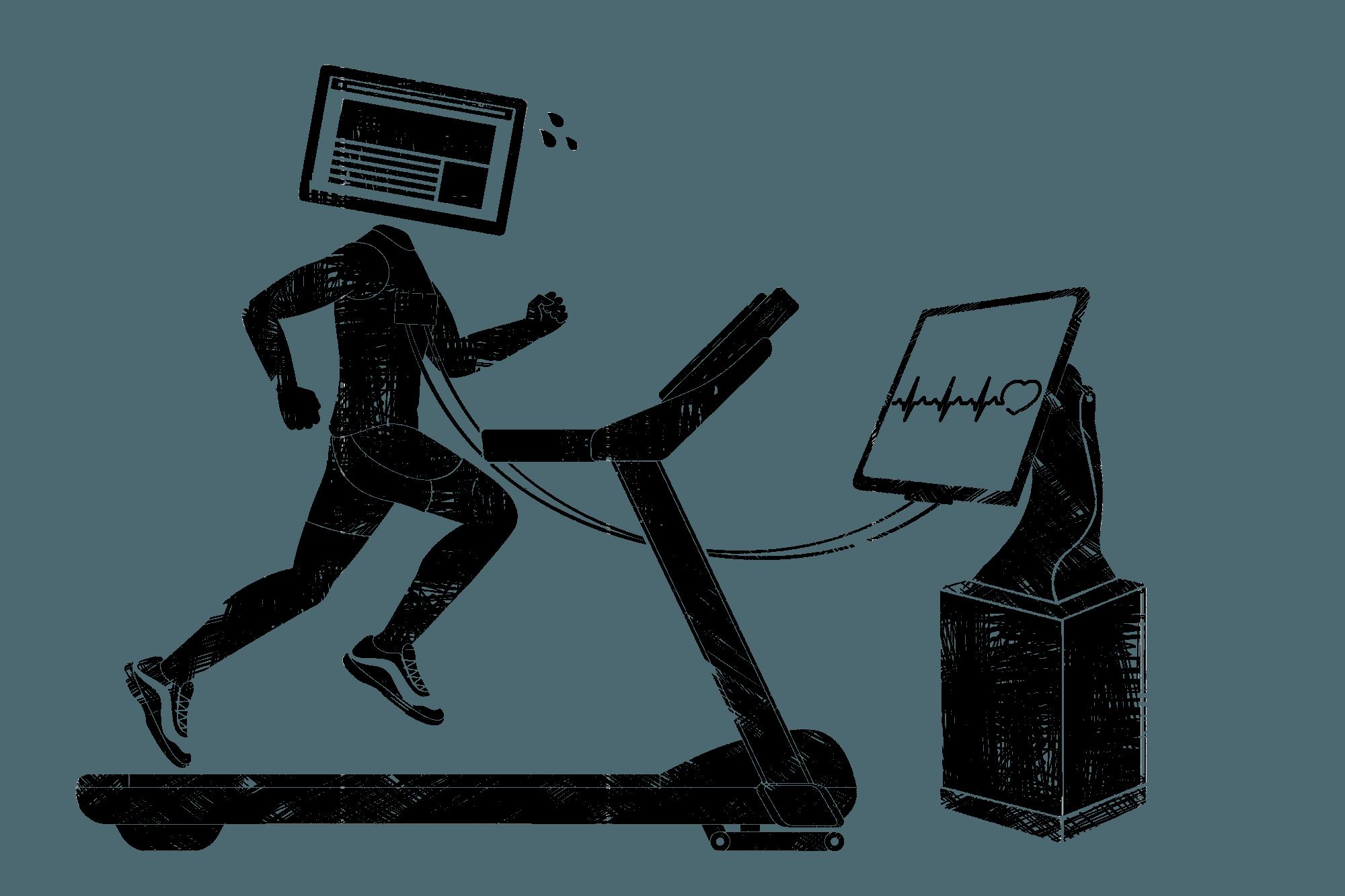 Mann mit Computerbildschirm als Kopf rennt auf einem Laufband und ist an ein EKG gekoppelt.