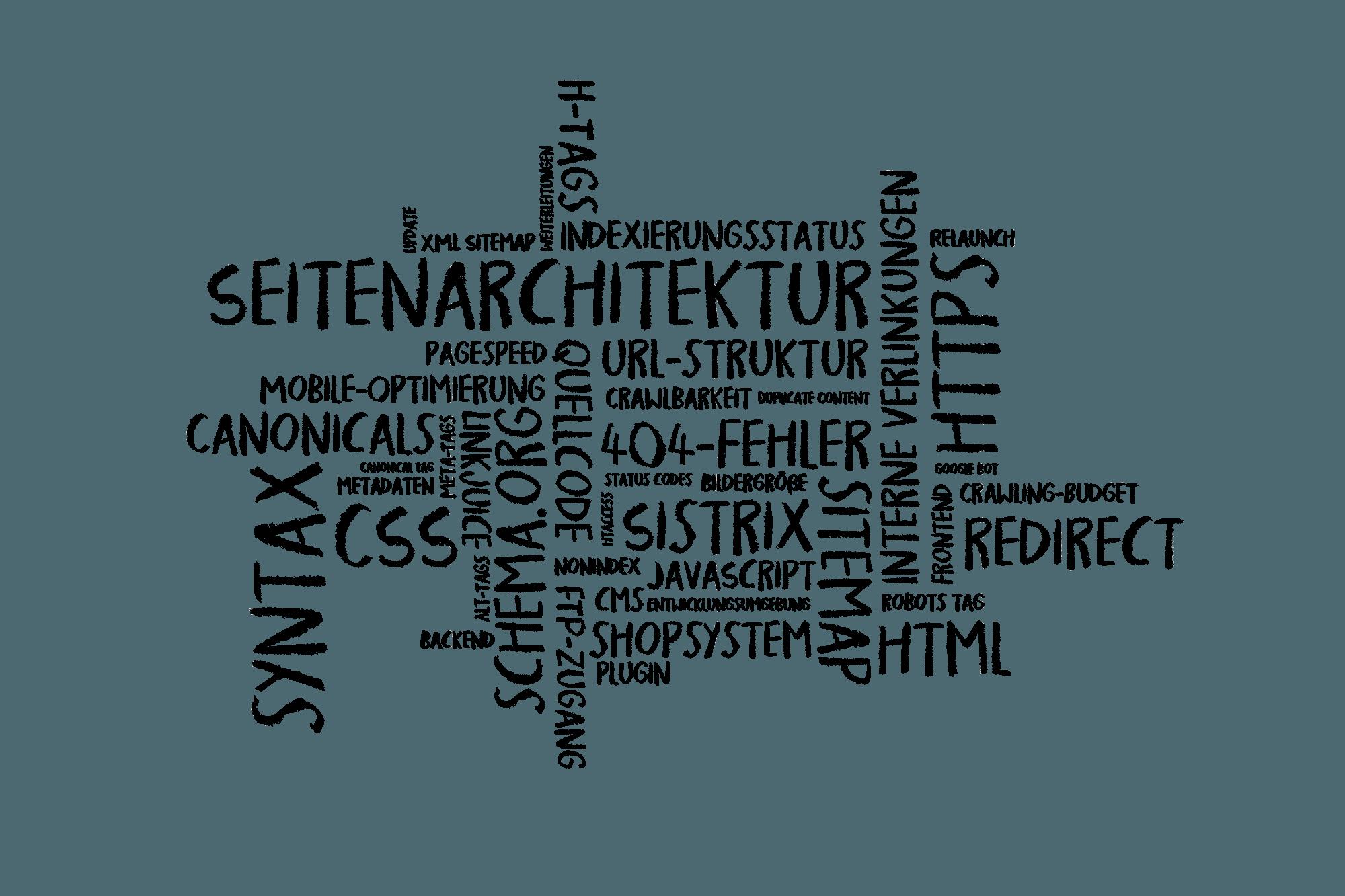 Wörterwolke mit Begriffen zur Suchmaschinenoptimierung