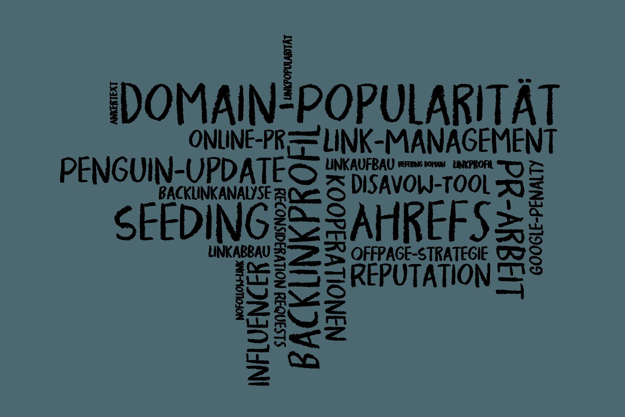 Wortwolke als Tafelbild zum Thema OffPage-Optimierung