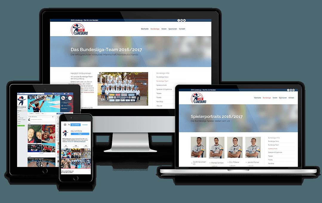 Die Website der SVG-Lüneburg auf unterschiedlichen Geräten