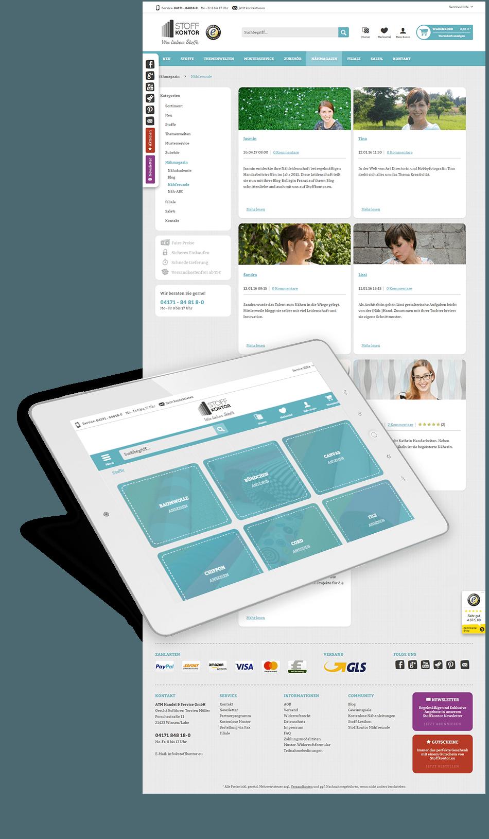 Die Website des Kunden Stoffkontor auf einem Tablet