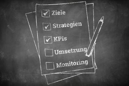 Eine Checkliste mit den strategischen Eckpfeilern einer Webanalyse.